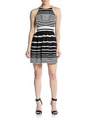 Saks Fifth Avenue Red Striped Fit And Flare Dress Black Combo