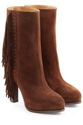 Ralph Lauren Collection Fringed Ankle Boots Brown