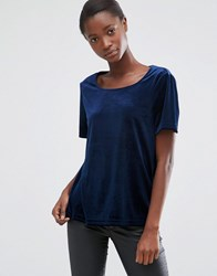 B.Young Midnight Velvet Top With Slit Open Back Parisian Nights Navy