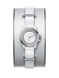 Chanel J12 Xs Diamond Stainless Steel Ceramic And Leather Cuff Bracelet Watch White