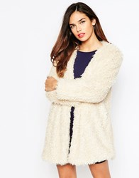 Ax Paris Shaggy Jacket Beige