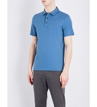 Michael Kors Short Sleeved Cotton Jersey Polo S Shadow Blue