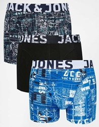 Jack And Jones Jack And Jones 3 Pack Trunks In Constructed Print Multi