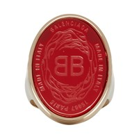 Balenciaga Red And Gold Oval Chevaliere Ring