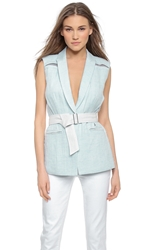 Rebecca Taylor Rumpled Double Face Vest Seaside