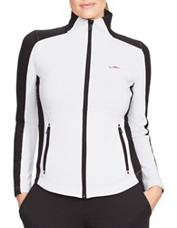 Lauren Ralph Lauren Plus Mockneck Track Jacket Black White