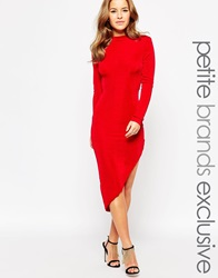True Decadence Petite Asymetrical Bodycon Dress Red