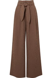 Nanushka Nevada Gingham Woven Wide Leg Pants Brown