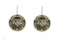 Biba Gold Enamel Emblem Disc Hook Earrings