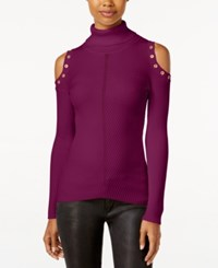 Xoxo Juniors' Embellished Cold Shoulder Sweater Wine