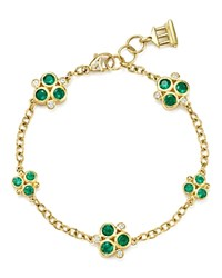 Temple St. Clair 18K Yellow Gold Emerald Trio And Diamond Bracelet Green Gold