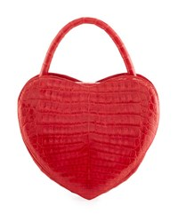 Nancy Gonzalez Heart Shaped Crocodile Crossbody Bag Red