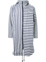 Selfmade By Gianfranco Villegas Striped Mid Length Hooded Coat Blue