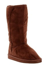 West Blvd Shoes Chicago Faux Fur Lined Faux Suede Boot Brown