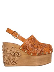 Red Valentino 110Mm Embellished Leather And Wood Clogs