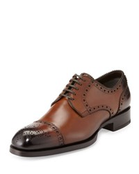 Tom Ford Edward Med Cap Wing Tip Derby Shoe Brown