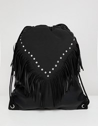 Asos Design Festival Drawstring Backpack In Black With Aztec And Studs