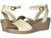 Crocs Leigh Ann Ankle Strap Leather Stucco Women's Wedge Shoes Khaki