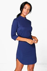 Boohoo 3 4 Sleeve Curved Hem Bodycon Dress Midnight