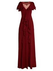 Elie Saab Lace Insert Ruffled Silk Blend Gown Dark Red