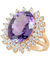 Macy's Amethyst 9 Ct. T.W. And Diamond 1 5 8 Ct. T.W. Cocktail Ring In 14K Rose Gold