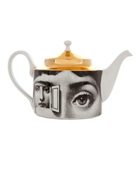 Fornasetti Printed Porcelain Tea Pot White