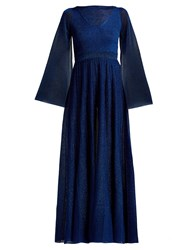 Missoni Bell Sleeve Pleated Gown Blue