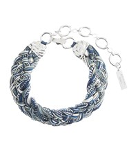 Max Mara Weekend Braided Crystal Embellished Necklace Female Blue