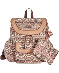 Sakroots Flap Backpack With Pouch Sand One World Gold
