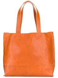 Il Bisonte Logo Embossed Tote Brown