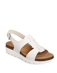 Aerosoles Throwback Leather Sandals Smooth White
