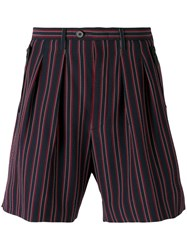 Wooyoungmi Striped Shorts Men Elastodiene Polyester Wool 46 Red
