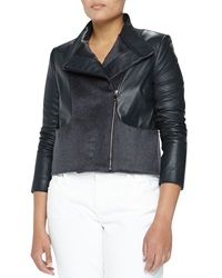 Monique Lhuillier Asymmetric Wool And Leather Jacket Blue Gray