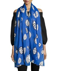 Anna Coroneo Cotton Voile Eye Scarf Blue