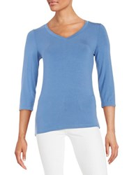 Lord And Taylor V Neck Tee Lupine Blue
