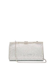 Christian Louboutin Palmette Crystal Embellished Suede Clutch Silver
