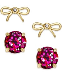 Kate Spade New York Gold Tone Glitter And Bow Stud Earring Set Pink Multi