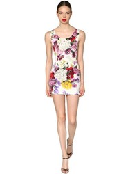 Dolce And Gabbana Floral Printed Charmeuse Mini Dress Multicolor