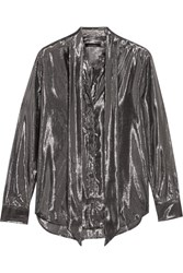 Kate Moss For Equipment Slim Signature Pussy Bow Metallic Silk Blend Shirt Gunmetal