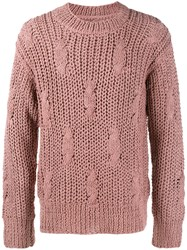 Maison Martin Margiela Fisherman Knit Jumper Pink And Purple