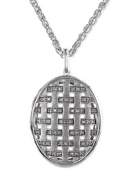 Effy Collection Effy Diamond Oval Pendant Necklace In Sterling Silver 1 5 Ct. T.W.
