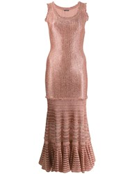 Alexander Mcqueen Laddered Knit Midi Dress Pink