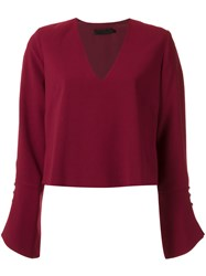 Giuliana Romanno Long Sleeves Blouse Red
