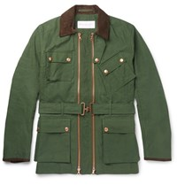 Private White V.C. Twin Track Waxed Cotton Field Jacket Green