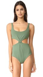 Mara Hoffman Knot Front Scoop Neck One Piece Moss
