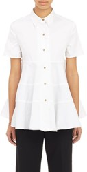 Co Women's Tiered Poplin Shirt White
