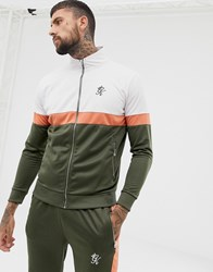 Gym King Muscle Retro Track Top In Khaki Green