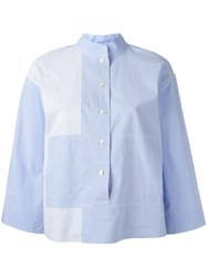 Dkny Striped Mandarin Collar Shirt Blue