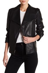 Tahari Kera Genuine Leather Asymmetrical Front Zip Jacket Black