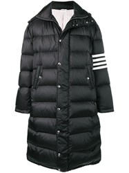 Thom Browne 4 Bar Oversized Long Bomber Jacket Black